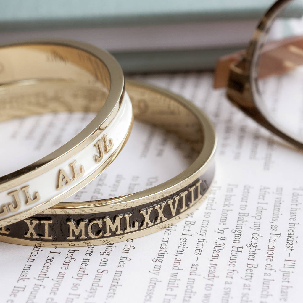 6236969fc1494 Personalised Enamel Bangle 18ct Gold Or Silver