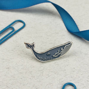 Blue Whale Enamel Pin - pins & brooches