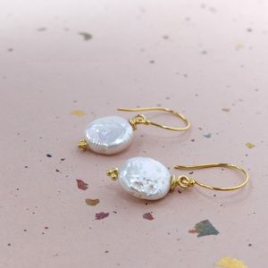 Freshwater Coin Drop Earrings - earrings
