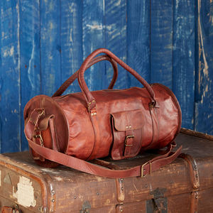 Large Brown Leather Barrel Holdall - bags