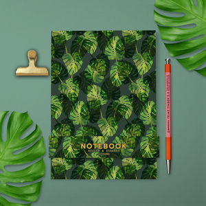 Tropical Leaves Green Notebook