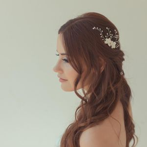 'Orchid' Mother Of Pearl Flower Wedding Hair Comb