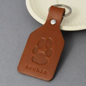 Personalised Leather Pawprint Key Ring