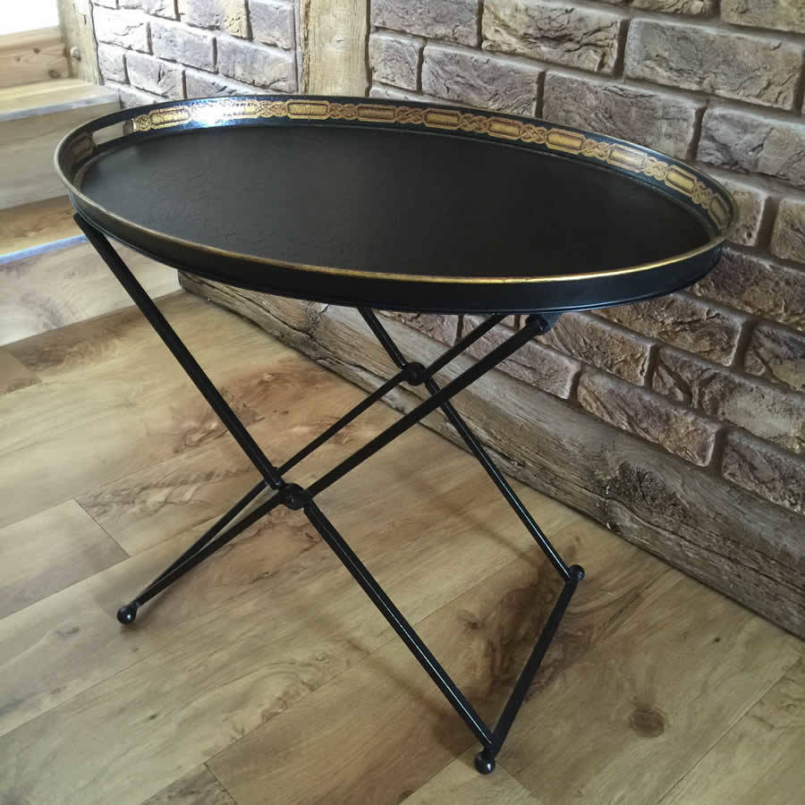 Superb Black Metal Tray Table