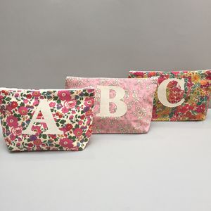 Liberty Print Initial Make Up/ Wash Bag Or Set - wedding fashion