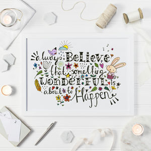 Inspirational Quote Art Print Always Believe