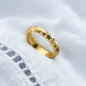 9ct Gold Textured Confetti Birthstone Ring