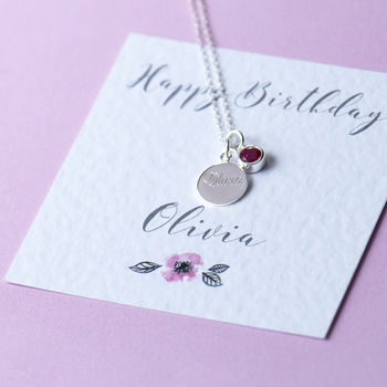 Happy Birthday Sterling Silver Name Necklace