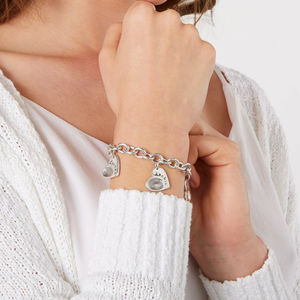 Fingerprint Heart Charm Toggle Clasp Bracelet