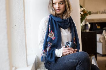 Personalised Navy Scarf With An Embroidered Flower