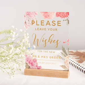 Personalised Floral And Gold Guest Book Wedding Sign - room decorations