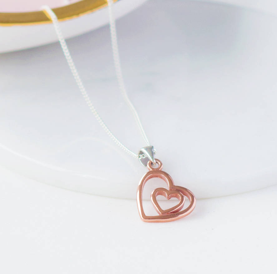 Rose Gold Open Heart Necklace