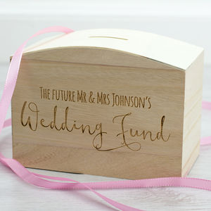 Wedding Fund Wooden Money Box - storage & organisers