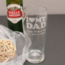 Personalised I Love My Dad Pint Glass In Box