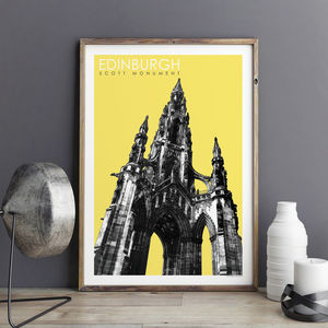 Edinburgh Art Prints Scott Monument Travel Poster