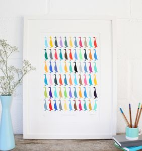 Cornish Runner Ducks Series Three Edition Screen Print - posters & prints