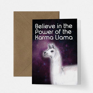 Karma Llama Funny Card - get well soon cards