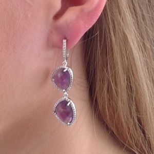 Amethyst Gemstone Earrings Diamante Drop Earrings