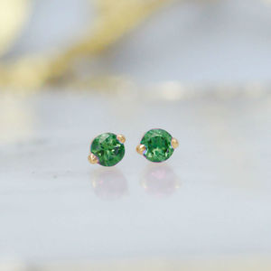 Emerald And 22ct Gold Vermeil Stud Earrings