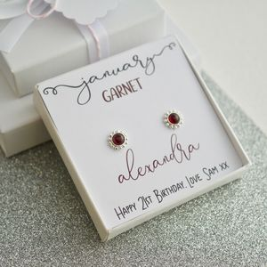 January Birthstone Garnet Earrings - birthstone jewellery gifts