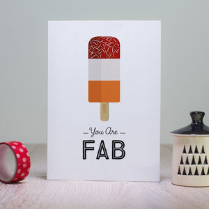 Retro Lolly Valentines Card 'You Are Fab' Card - shop by category