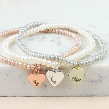 Personalised Handmade Seed Pearl And Charm Bracelet