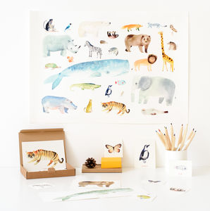 Animal Watercolour Print - gifts for children