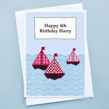 Large A5 size childrens boats birthday card