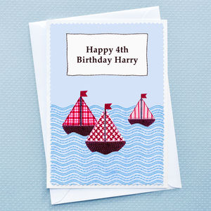 Personalised 'Boats' Boys Birthday Card