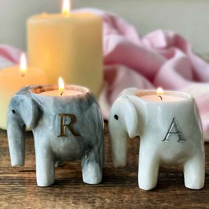 Personalised Marble Elephant T Light Candle Holder