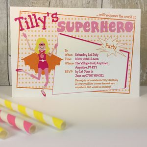 16 Super Girl Party Invitations Or Thank You Cards