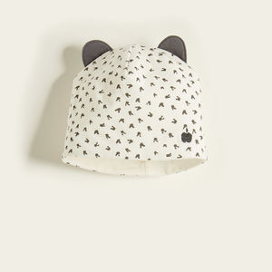 Bopper Organic Cotton Bunny Print Baby Hat Grey Bunny
