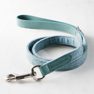 Teal Tweed Leather Lead - pet leads & harnesses