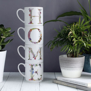Personalised Botanical Home Accessory Stacking Mugs