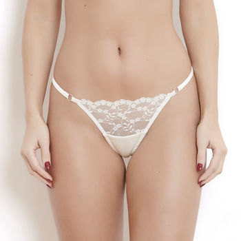 Ivory Silk And French Lace Sophia High Waist Thong