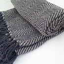 Fringed Dark Grey Chevron Woven Throw