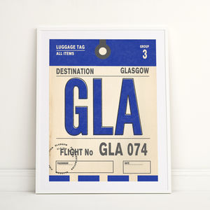 Personalised Glasgow Vintage Luggage Tag Print