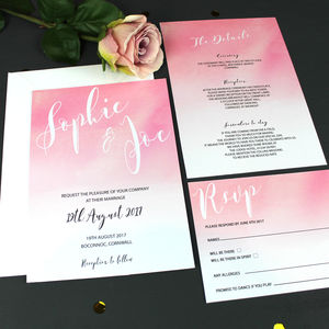 Watercolour Ombre Wedding Invitation - order of service & programs