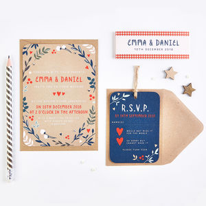 Winter Kraft Branches And Berries Wedding Invitation - invitations