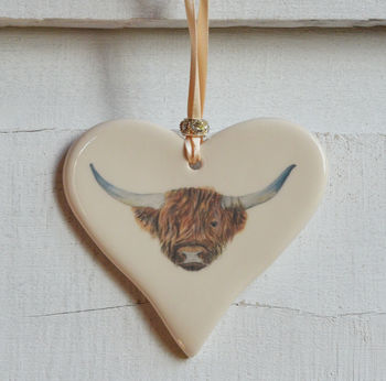 Highland Cow Ceramic Heart