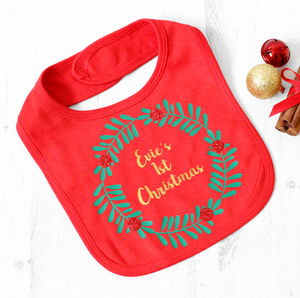 First Christmas Sparkly Wreath Bib - children's christmas clothing