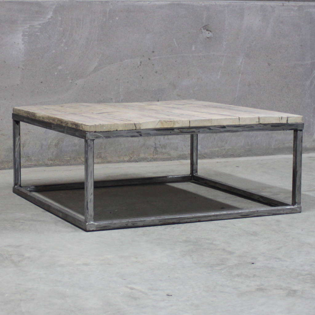 Ordinaire Reclaimed Wood Coffee Table With Raw Steel Box Frame