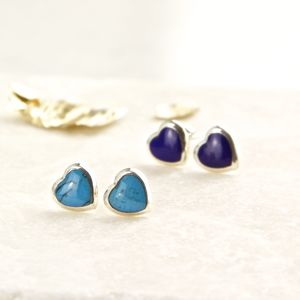 Semi Precious Stone Sterling Silver Heart Stud Earrings