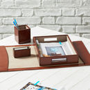 Personalised Deluxe Leather Desk Set Complete
