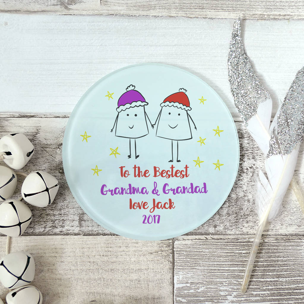 Personalised Bestest Grandparents Glass Coaster