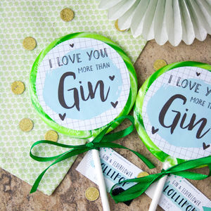 I Love You More Than Gin Alcoholic Giant Lollipop - chocolates & confectionery