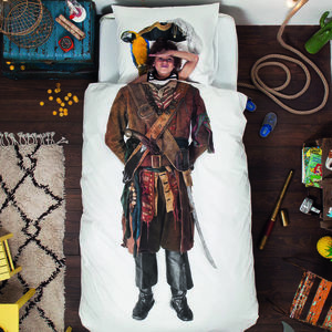 Kid's Pirate Print Quilt Cover And Pillow Case Set