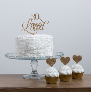 30 Years Loved Cake Topper Party Set