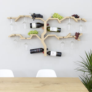 Solid Oak Wall Mounted Wine And Glass Rack