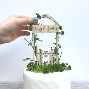 Personalised Love Gate Wedding Cake Topper - decoration